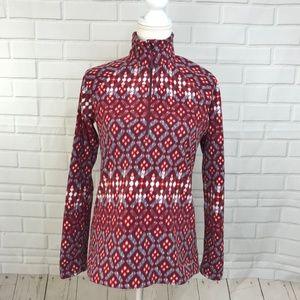 Eddie Bauer Womens Fleece Half Zip Fair Isle Red
